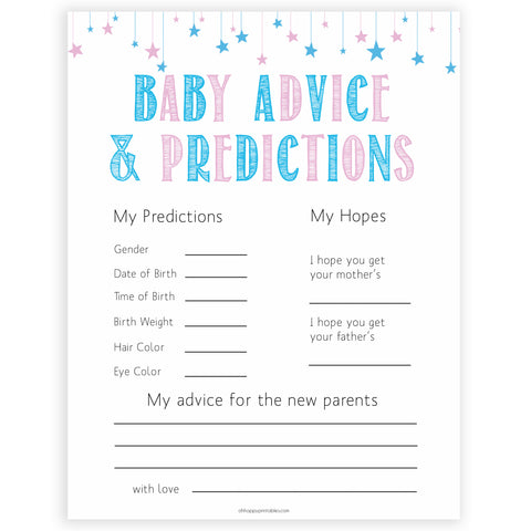 Gender reveal baby games, baby advice and predictions baby game, gender reveal shower, fun baby games, gender reveal ideas, popular baby games, best baby games, printable baby games, gender reveal baby games