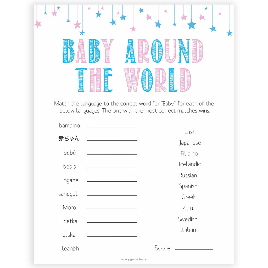 photo regarding Printable Gender Reveal Games referred to as Child In excess of The Globe Child Activity - Gender Clarify Printable