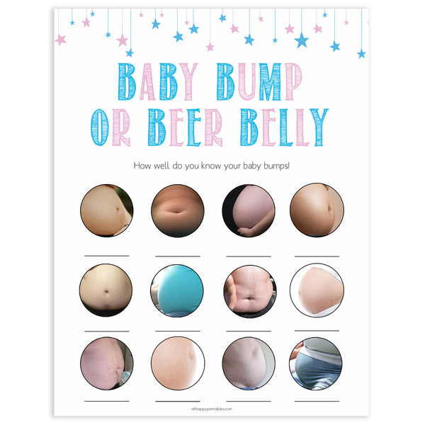 Gender reveal baby games, baby bump or beer belly baby game, gender reveal shower, fun baby games, gender reveal ideas, popular baby games, best baby games, printable baby games, gender reveal baby games