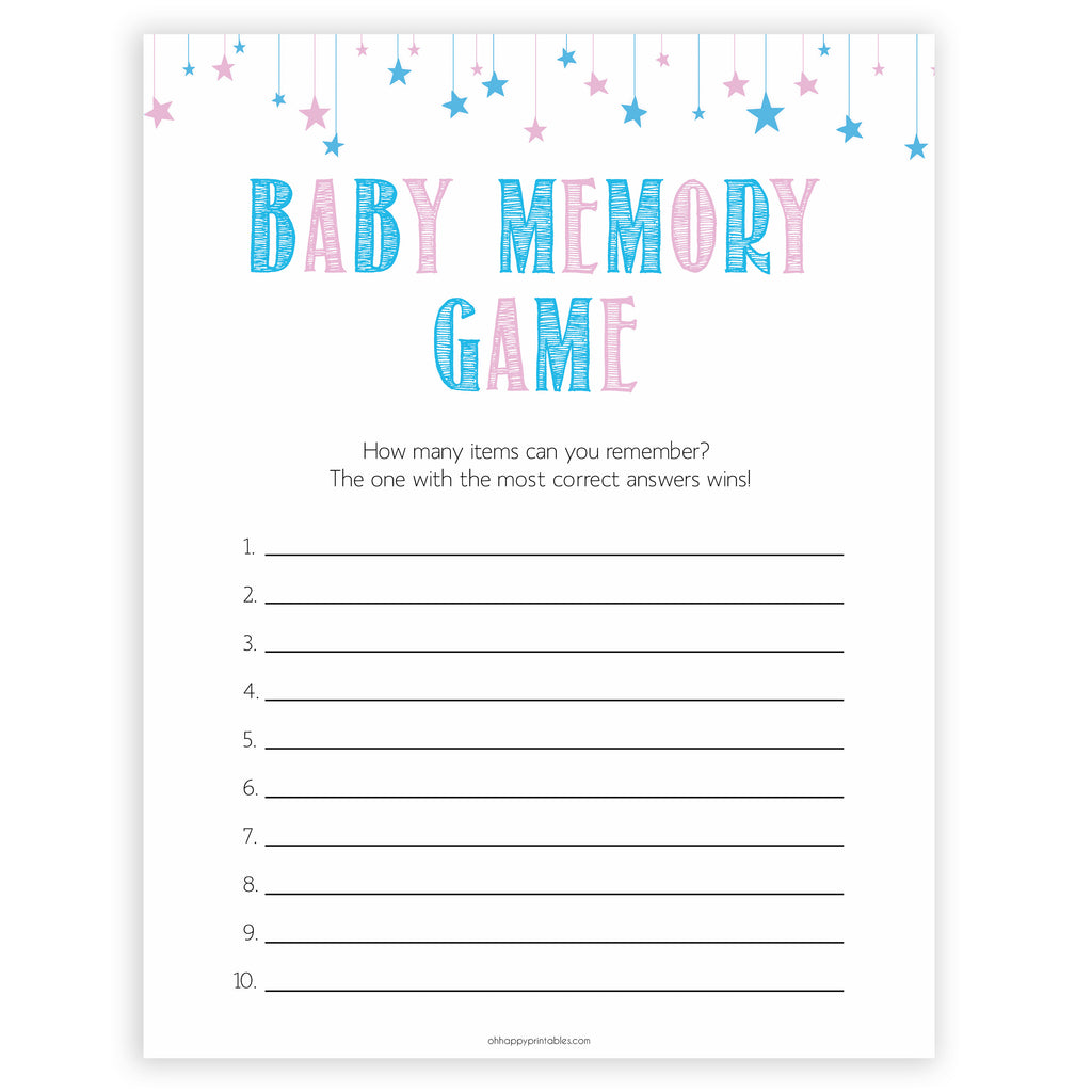 photograph relating to Printable Memory Games identify Child Memory Match - Gender Demonstrate Printable Kid Shower Game titles