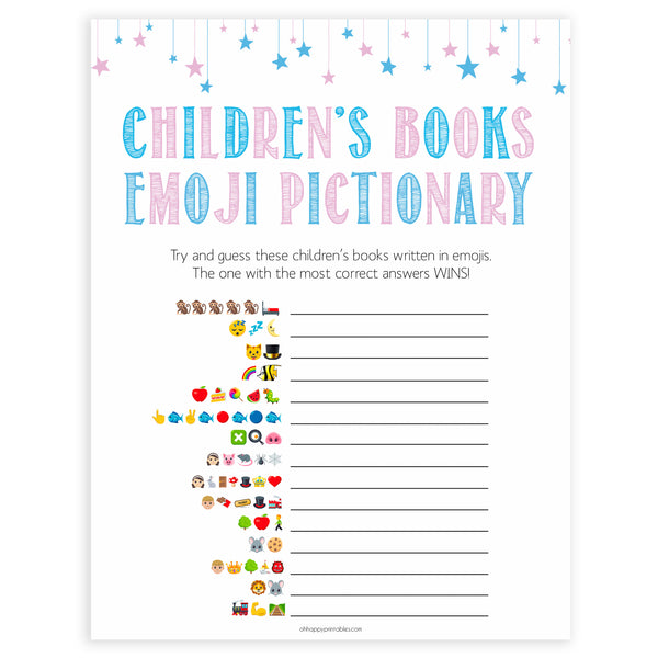 Gender reveal baby games, childrens books emoji pictionary baby game, gender reveal shower, fun baby games, gender reveal ideas, popular baby games, best baby games, printable baby games, gender reveal baby games