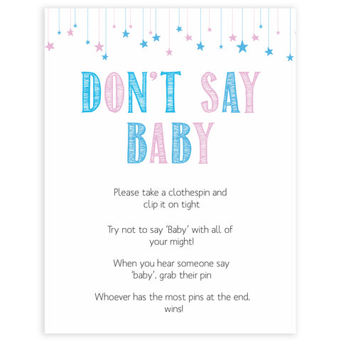 Gender reveal baby games, dont say baby baby game, gender reveal shower, fun baby games, gender reveal ideas, popular baby games, best baby games, printable baby games, gender reveal baby games