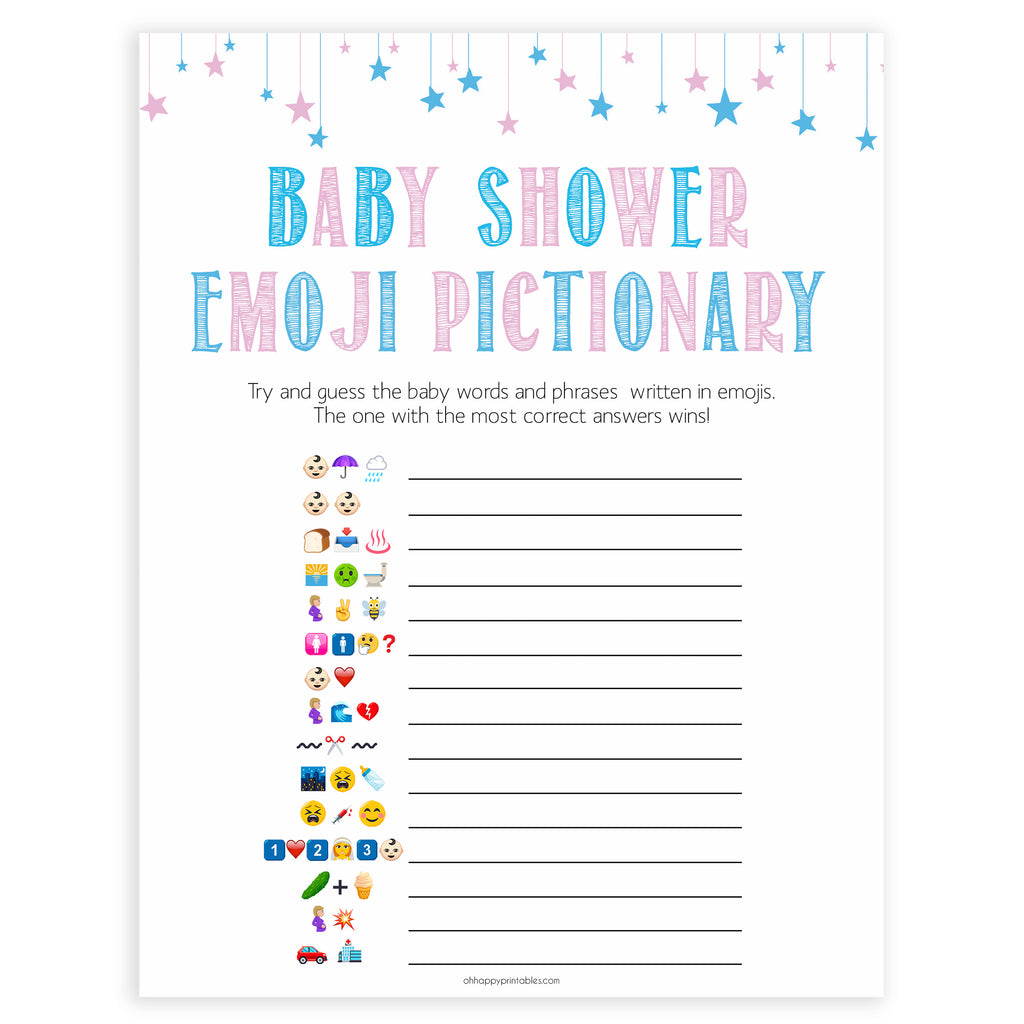 image regarding Gender Reveal Games Printable known as Child Emoji Pictionary Match - Gender Demonstrate