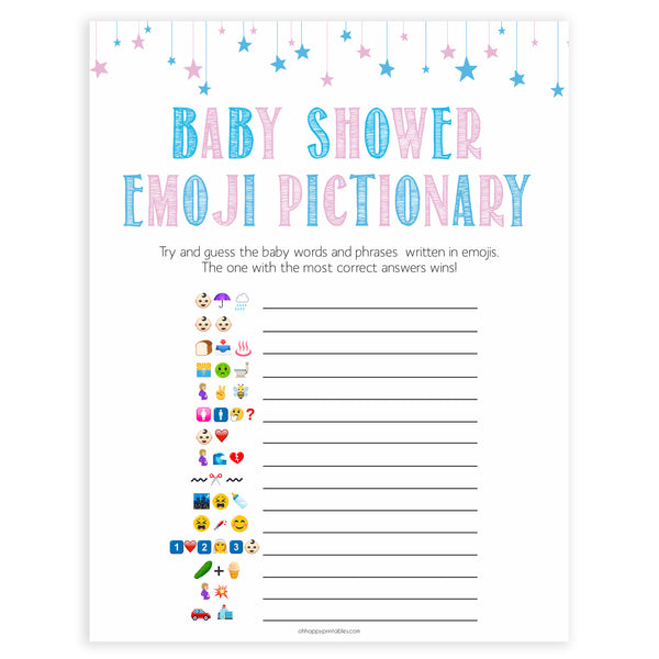 Gender reveal baby games, emoji pictionary baby game, gender reveal shower, fun baby games, gender reveal ideas, popular baby games, best baby games, printable baby games, gender reveal baby games