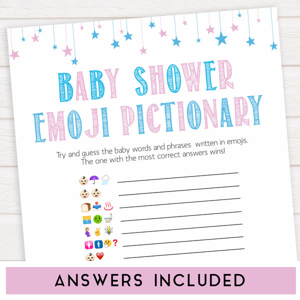 Baby Emoji Pictionary Game - Gender Reveal