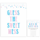 Gender reveal baby games, guess the sweet mess baby game, gender reveal shower, fun baby games, gender reveal ideas, popular baby games, best baby games, printable baby games, gender reveal baby games