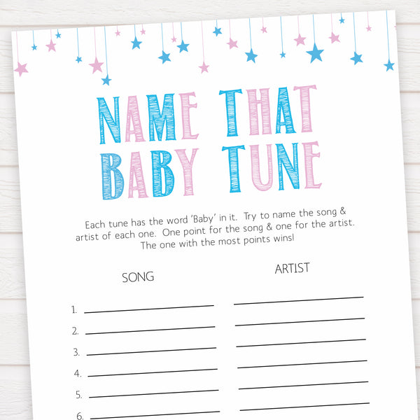 Gender reveal baby games, name that baby tune baby game, gender reveal shower, fun baby games, gender reveal ideas, popular baby games, best baby games, printable baby games, gender reveal baby games