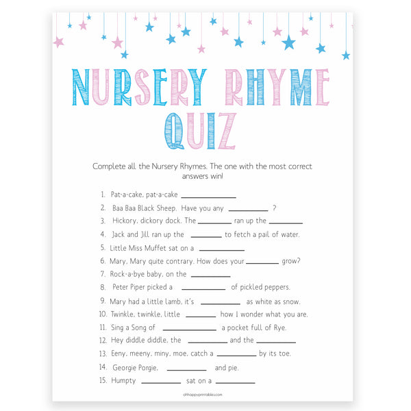 Gender reveal baby games, nursery rhyme quiz baby game, gender reveal shower, fun baby games, gender reveal ideas, popular baby games, best baby games, printable baby games, gender reveal baby games