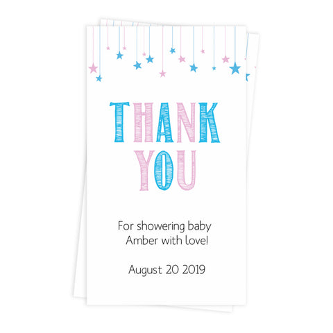 baby shower thank you tags, printable baby shower thank you tags, editable baby shower thank you tags, gender reveal thank you tags
