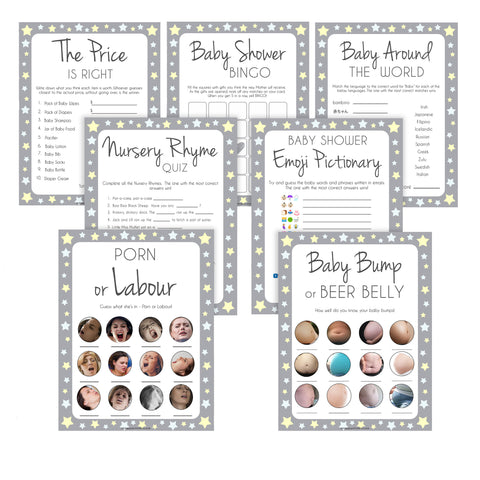 Grey Yellow Stars Baby Shower Games Pack, 7 Baby Shower Games, Grey Baby Shower Games, Printable Baby Shower Games, Stars Baby Shower, fun baby shower games, popular baby shower games