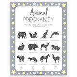 Grey & Yellow Stars Animal Pregnancy Game, Animal Gestation Game, Printable Baby Shower Game, Yellow Animal Pregnancy Game, Grey Baby Shower Games, printable baby shower games, fun baby shower games, popular baby shower games