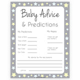Grey Yellow Stars Baby Advice & Predictions, Printable Baby Shower Games, Baby Advice Game, Stars Baby Predictions Games, Baby Shower, printable baby shower games, fun baby shower games, popular baby shower games