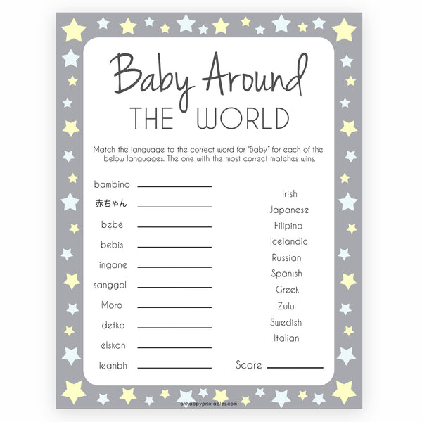 Grey Yellow Stars Baby Around The World Game, Grey Baby in Different Languages, Printable Baby Shower Games, Yellow Stars Baby Game, printable baby shower games, fun baby shower games, popular baby shower games