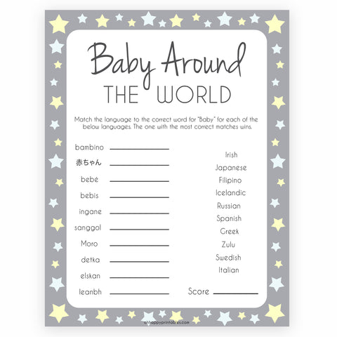 picture regarding Spanish Baby Shower Games Free Printable named Gray Yellow Famous people Child Shower Retailer Printable Child Shower