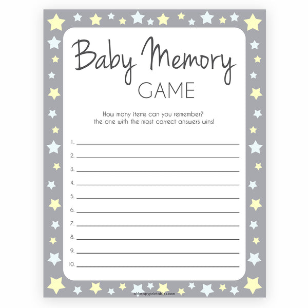 Baby Memory Game Grey Stars, Printable Baby Shower Games, Baby Shower Memory Game, Baby Shower Games, Baby Guessing Game, Baby Games, printable baby shower games, fun baby shower games, popular baby shower games