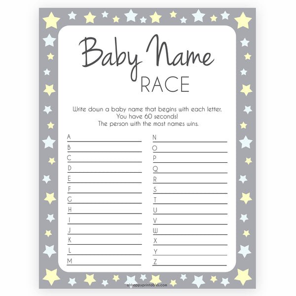 Grey Yellow Star Baby Name Race Game, Printable Baby Shower Games, Baby Names Game, Baby Names, Grey Baby Shower Game, Baby Name Race, popular baby shower games, printable baby shower games fun baby shower games