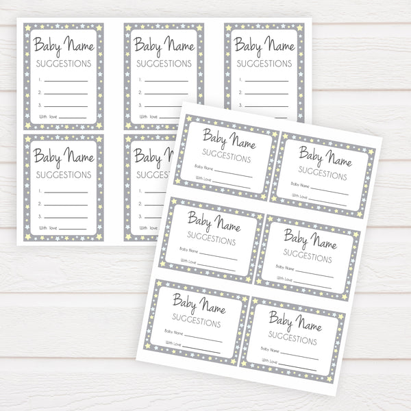 Baby Name Suggestion Grey Yellow Stars, Baby Name Suggestions, Printable Baby Shower Games, Baby Games, Baby Names, Grey Baby Name Cards, popular baby shower games, printable baby shower games, fun baby shower games