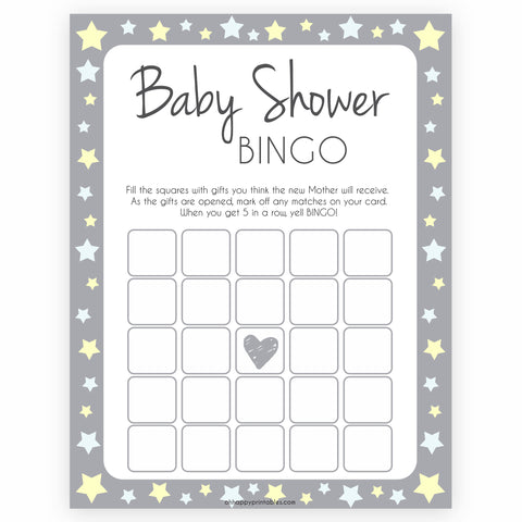 Grey Yellow Stars Baby Shower Bingo, Printable Baby Shower Games, Baby Bingo Game, Grey Baby Shower, Grey Yellow Star Baby Shower Games, popular baby shower games, fun baby shower games