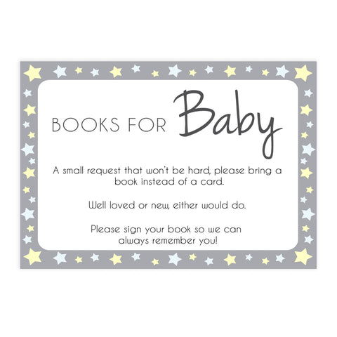 grey & yellow stars, bring a book, books for baby, printable baby shower games, fun baby games, top baby shower games