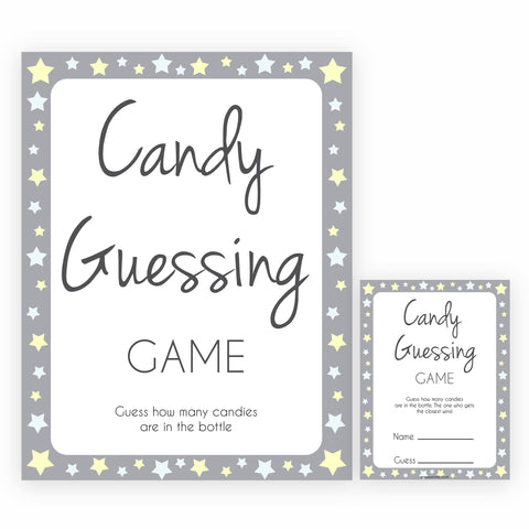 Grey Yellow Stars Baby Shower Guess The Mess Game, Baby Shower Guess Sweet Mess, Printable Baby Shower Games, Guess The Mess, Baby Games, fun baby shower games, popular baby shower games