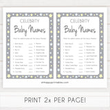 Grey Yellow Stars Celebrity Baby Names, Guess the Celebrity Baby, Famous Babies Game, Celebrity Babies Game, Printable Baby Shower Game, fun baby shower games, popular baby shower games