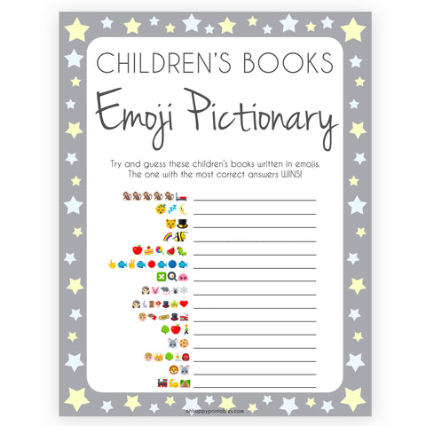 Grey Yellow Stars Childrens Books Emoji Pictionary, Childrens Book Emoji Game, Baby Shower Emoji Pictionary, Printable Baby Shower Games, fun baby shower games, popular baby shower games