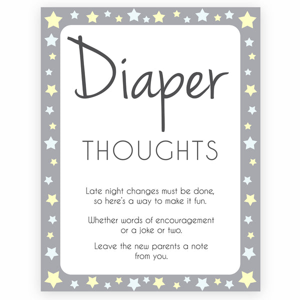 Grey Yellow Stars Diaper Thoughts, Sign the Diaper, Diaper Stations, Stars Diaper Signing, Diaper Message, Diaper Thoughts, Diaper Sign , printable baby shower games, fun baby shower games, popular baby shower games