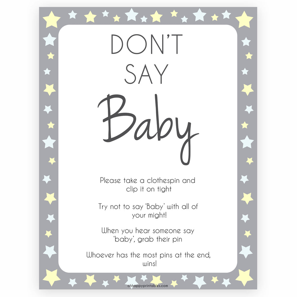 picture about Don T Say Baby Printable called Dont Say Kid Sport - Gray Celebs Printable Kid Shower Video games