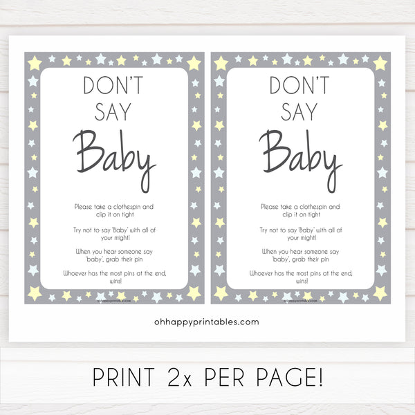 Grey Yellow Stars Don't Say Baby, Don't Say Baby Sign, Don't Say Baby Game, Printable Baby Shower Games, Dont Say Game, Grey Baby Shower, popular baby shower games, fun baby shower games