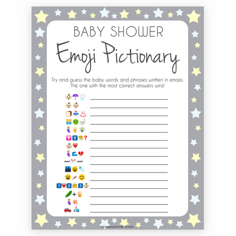 Grey Yellow Stars Emoji Pictionary Baby Shower Games, Printable Baby Shower Games, Emoji Pictionary, Stars Baby Shower Games. Emoji Game, fun abby shower games, popular baby shower games