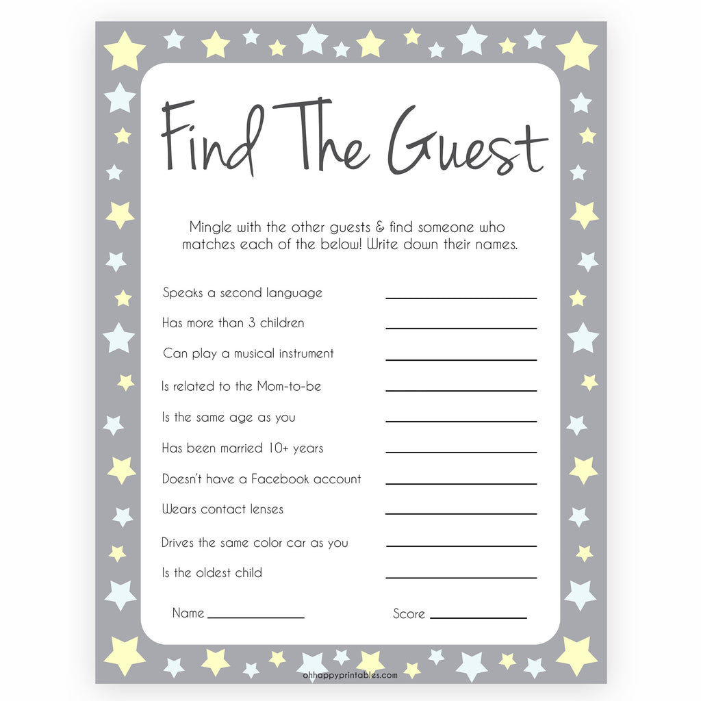 Italian Boy Name: Find The Guest Baby Shower Games