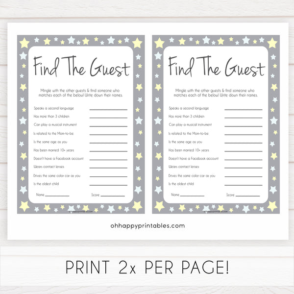 Grey Yellow Stars Find The Guest Baby Shower Game, Find the Guest, Ice Breaker Game, Baby Shower Games, Baby Shower, Find the Guest, fun baby shower games, popular baby shower games
