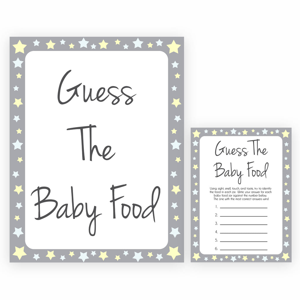 Guess The Baby Food Game Grey Stars Printable Baby Shower Games