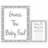 Grey Yellow Stars Guess The Baby Food, Printable Baby Shower Games, Grey Baby Shower Games, Guess The Baby Food, Stars Guess Baby Food, fun baby shower games, popular baby shower games