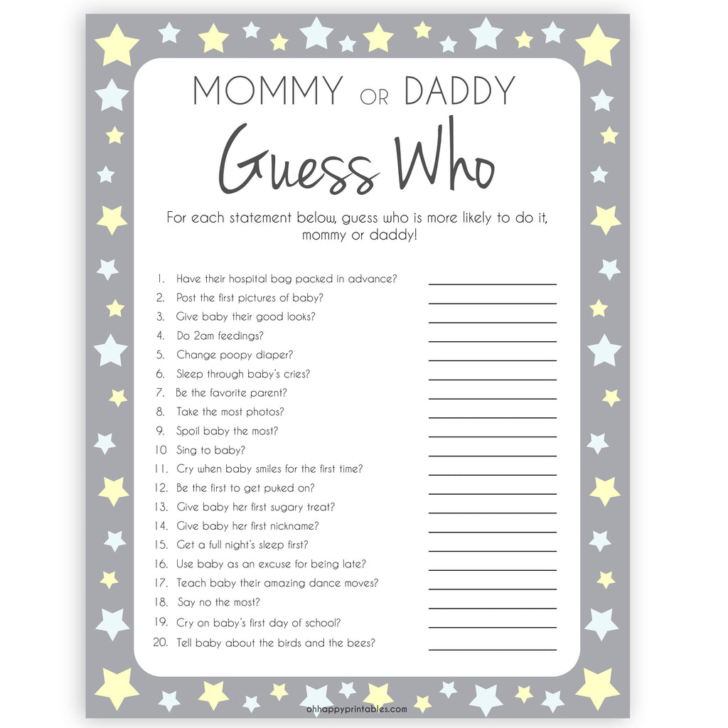 Soft image for guess who mommy or daddy free printable