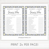 Mommy or Daddy Guess Who Baby Game, Printable Baby Shower Games, Grey Stars Baby Games, Guess Who Baby Game, Stars Mommy Daddy Guess Who, printable baby shower games, fun baby shower games, popular baby shower games