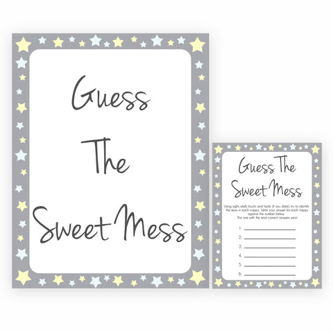 Grey Yellow Stars Candy Guessing Game, Candy Guessing Game, Baby Candy Game, Grey Candies in A Jar Game, Printable Baby Shower Games, fun baby games, popular baby games
