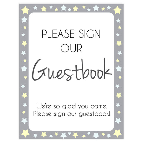 Printable baby signs, guestbook baby sign, yellow and grey stars, printable baby shower signs, top baby shower decor, baby printable decor