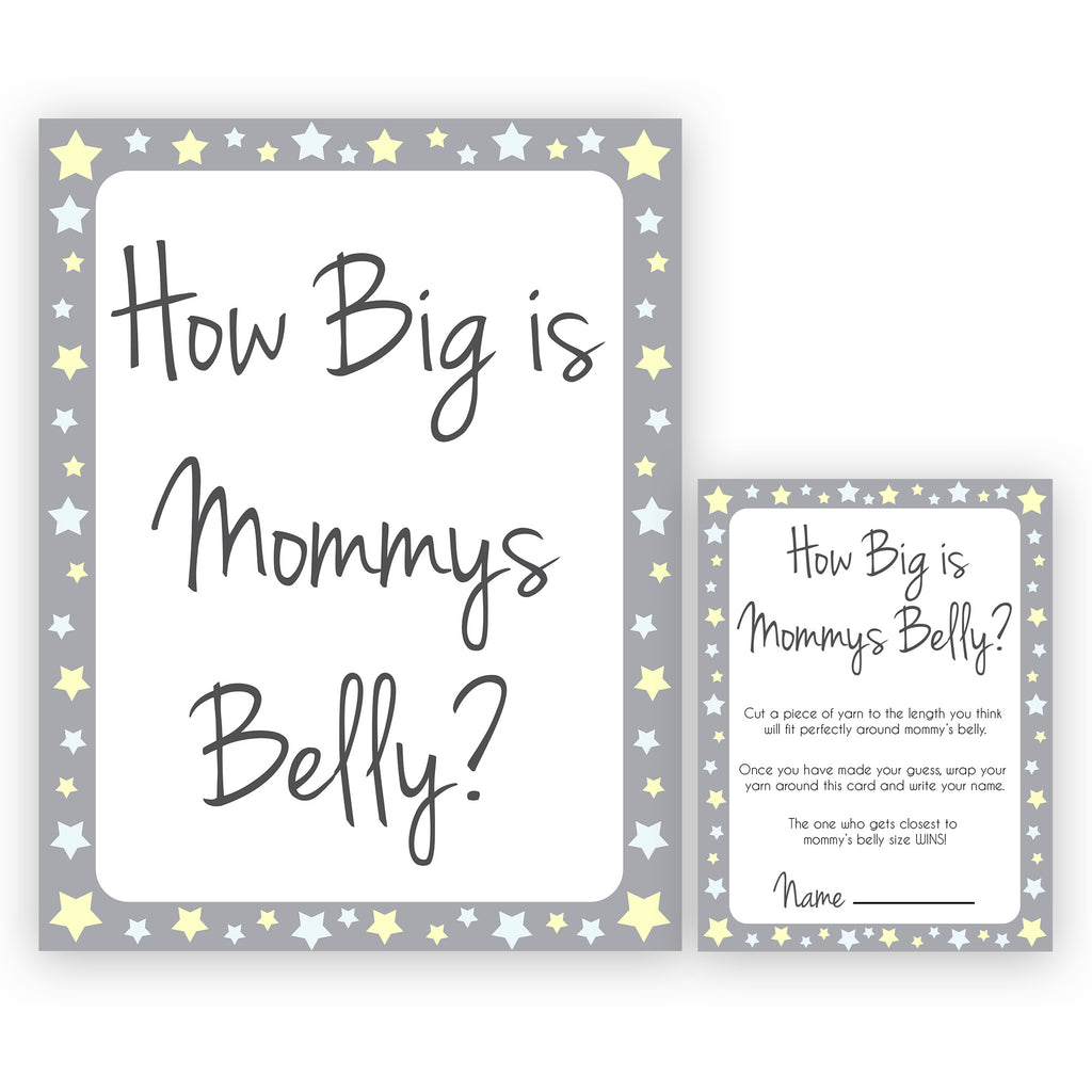 How Big Is Mommys Belly Grey Yellow Stars Printable Baby