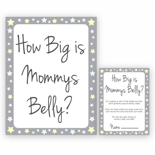 Grey Yellow Stars How Big Is Mommy's Belly, Mommys Belly Game, Printable Baby Shower Games, Grey Stars Baby Games, Guess Mommys Belly, fun abby shower games, popular baby shower games, printable baby shower games