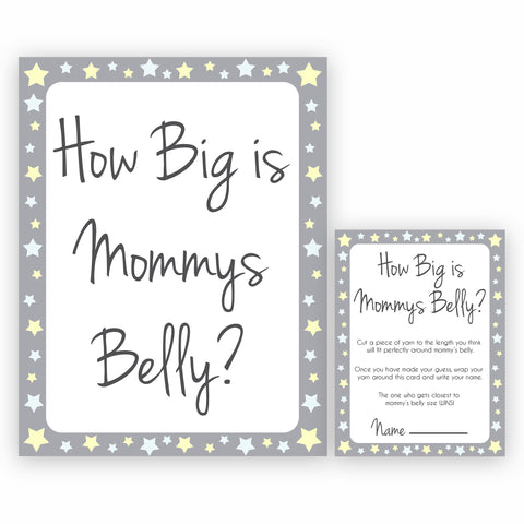 image regarding How Big is Mommy's Belly Free Printable named Gray Yellow Famous people Boy or girl Shower Retail outlet Printable Boy or girl Shower