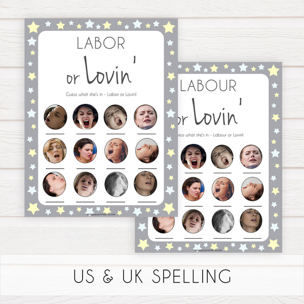 Labour or Lovin Game, Grey Yellow Star Baby Shower Games, Grey Labour or Lovin, Lovin or Labour, Printable Baby Game Porn or Labour Game, fun baby shower games, popular baby shower games