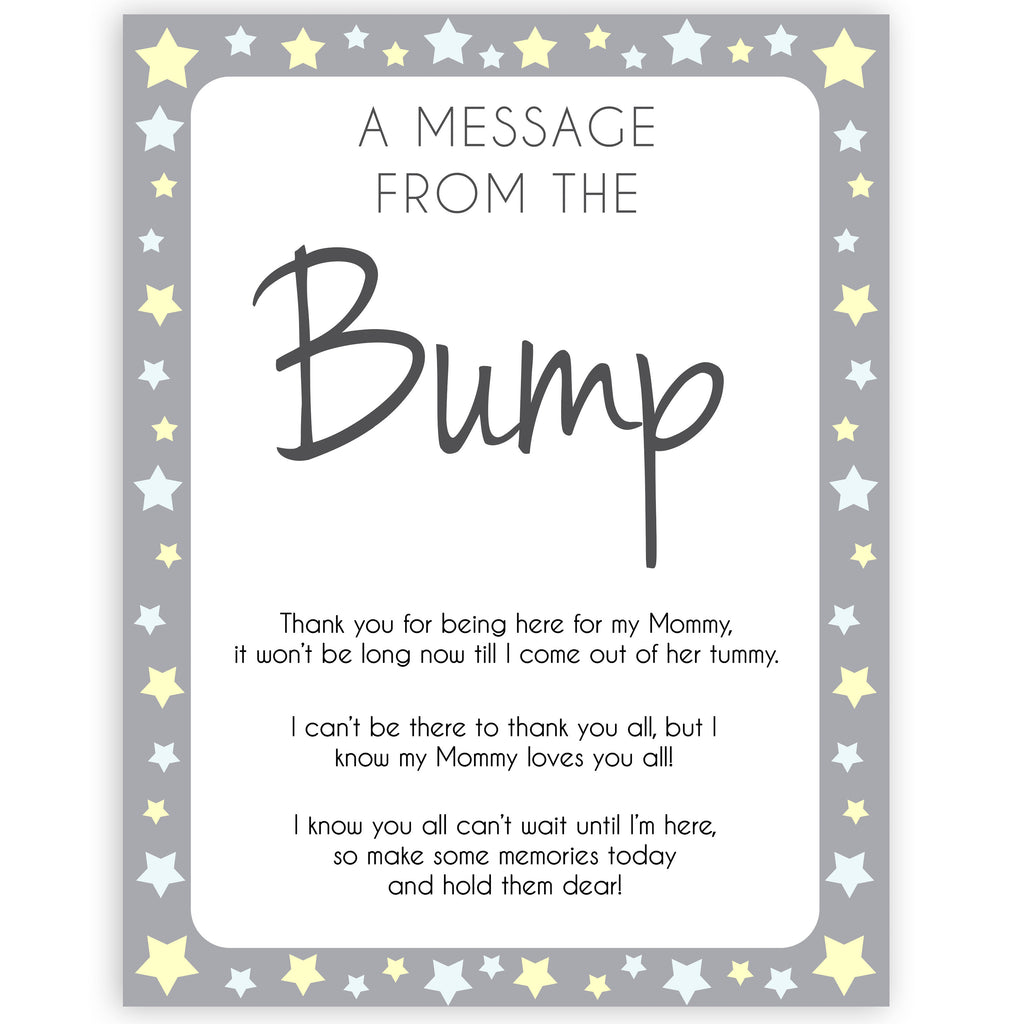 A Message From The Bump Grey Yellow Printable Baby Shower Games