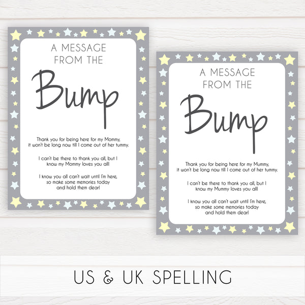 Grey Yellow Stars Message From Baby, Baby Shower Signs, Printable Baby Shower Signs, Baby Bump, Message From Bump, Stars Baby Signs, printable baby games, fun baby games, popular baby games