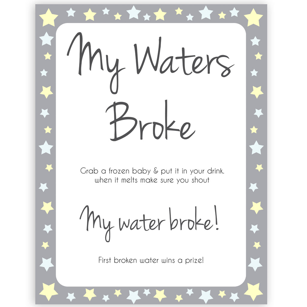 graphic regarding Printable Yellow Stars known as My Waters Broke Child Shower Match - Gray Yellow Celebs