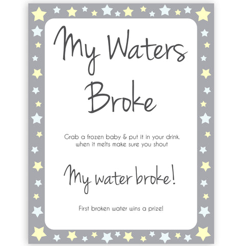 Grey Yellow Stars Waters Broke Game, Printable Baby Shower Games, Waters Broke Baby Game, My Waters Broke Game, Stars Baby Shower Games, fun baby shower games, popular baby shower games