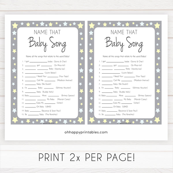 Grey Yellow Stars Name That Song Baby Shower Game, Baby Song Games, Printable Baby Shower Games, Name That Baby Song, Name that Song, fun abby shower games, popular baby shower games