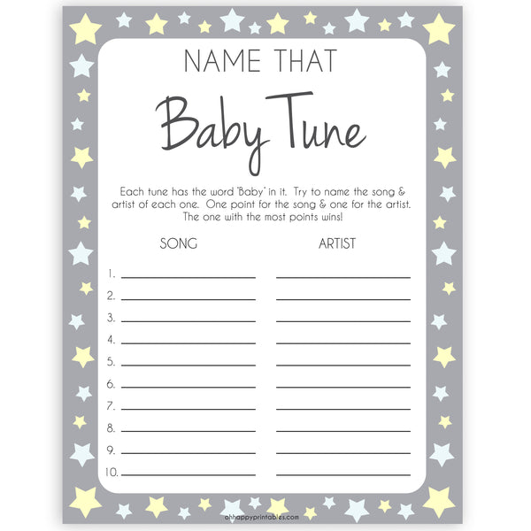 Grey Yellow Stars Name That Baby Tune Shower Game, Baby Song Games,Printable Baby Shower Games, Baby Shower, Name Baby Song, Baby Games, printable baby shower games, fun baby games, popular baby games