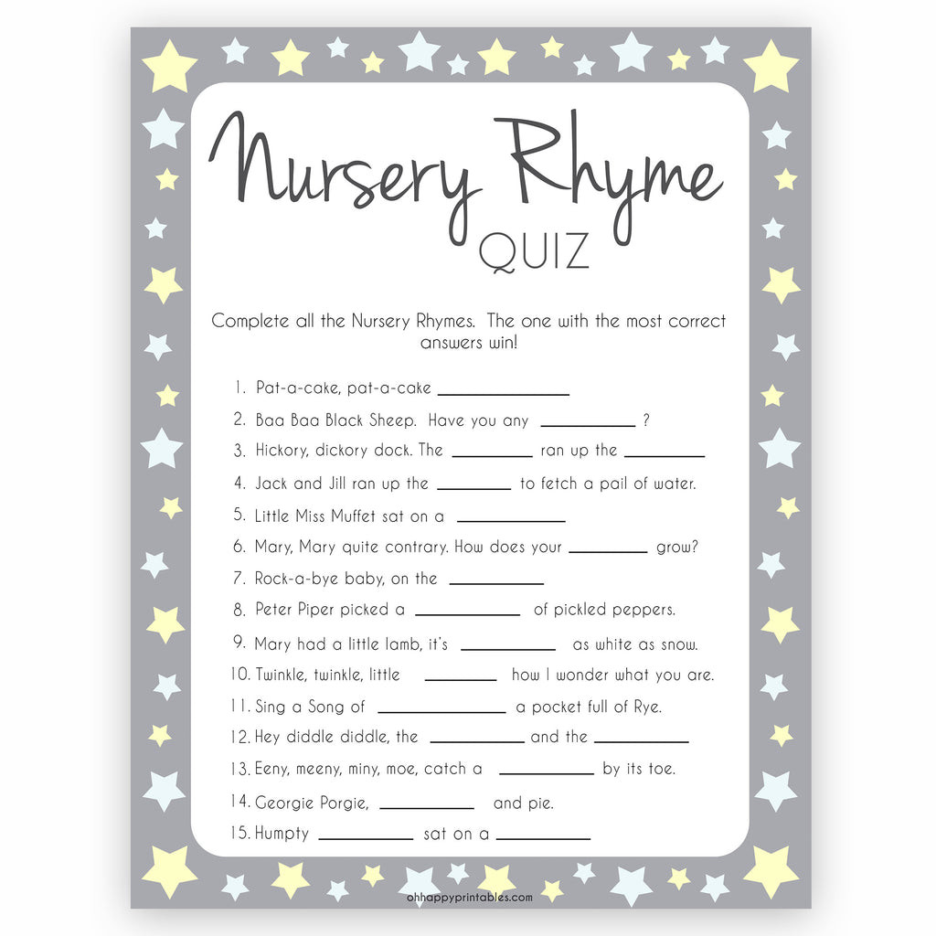 Nursery Rhyme Quiz Game Grey Yellow Stars Printable Baby Shower