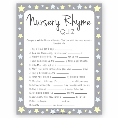 Grey Yellow Stars Nursery Rhyme Quiz, Baby Shower Games, Guess Nursery Rhyme, Stars Printable Baby Shower Games, Name that Nursery Rhyme, fun baby shower games, popular baby shower games